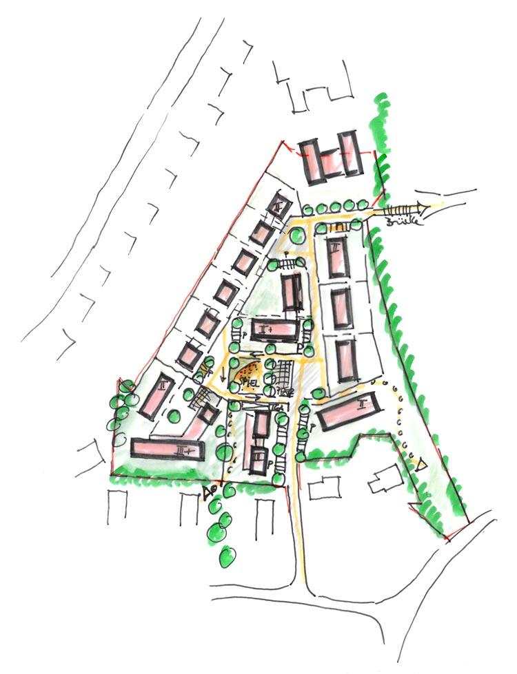 Projekt Wohngebiet am Lennhof Dortmund Skizze