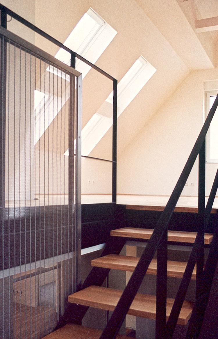 Treppenaufgang Ansicht 01 Innengestaltung einer Eigentumswohnung Bozener Stasse Planquadrat Dortmund