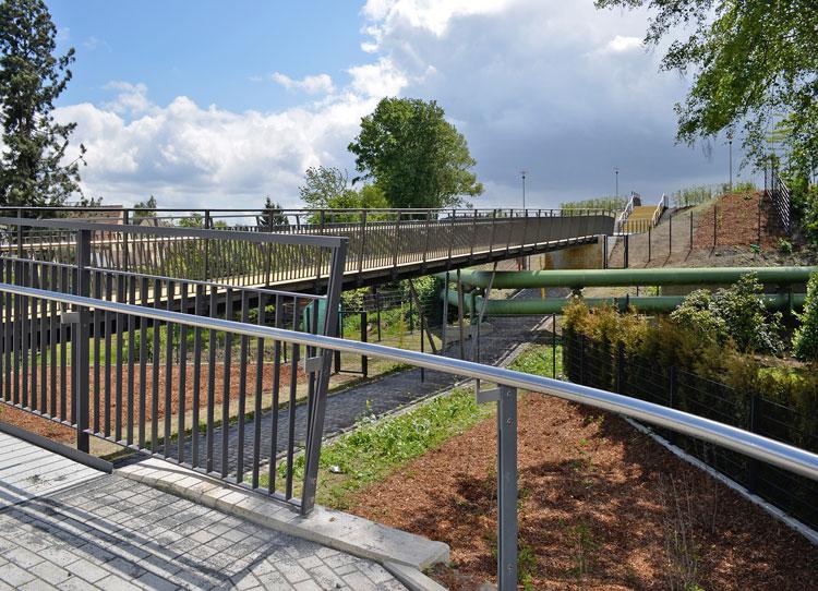 Ansicht 01 Revitalisierung der ehemaligen Schachtanlage Schlägel & Eisen 3/4/7 Fußgängersteg Planquadrat Dortmun