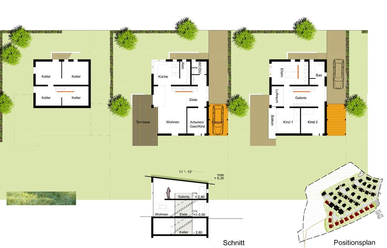 EH1 Grundrisse Wohnbebauung Scheitensberg Castrop-Rauxel Planquadrat Dortmund