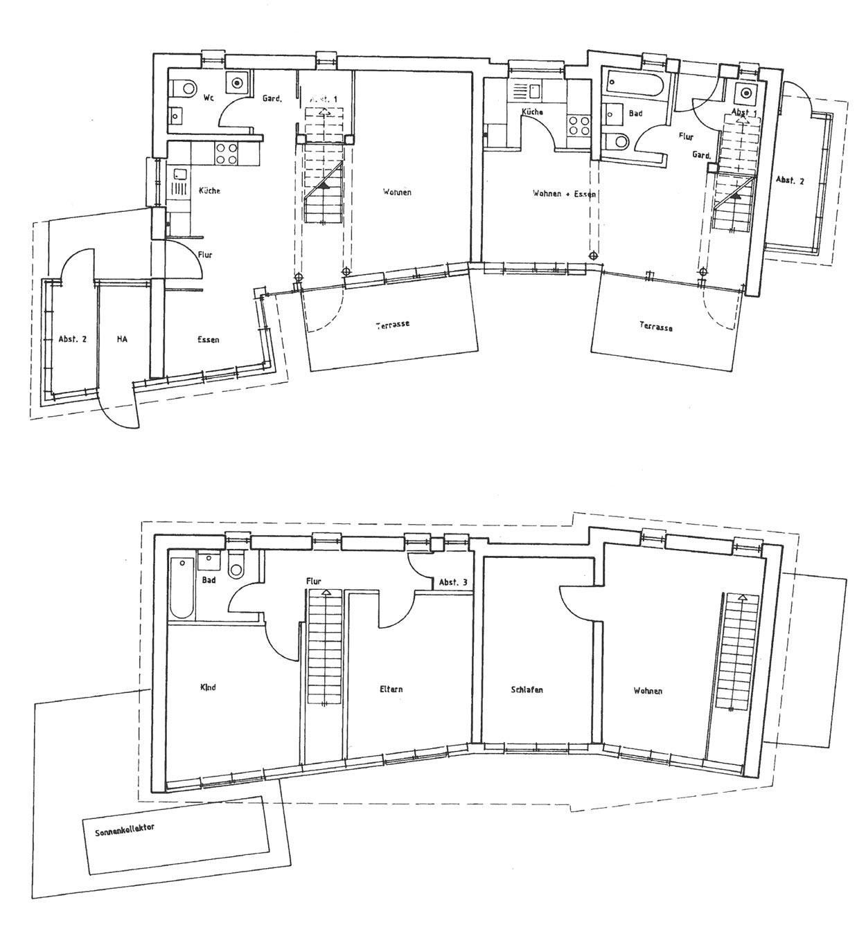 Grundrisse Siedlung Fürst Hardenberg Dortmund-Lindenhorst Planquadrat Dortmund