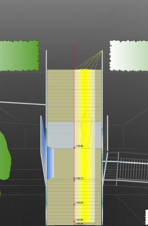 Lichtkonzept Ansicht Revitalisierung der ehemaligen Schachtanlage Schlägel & Eisen 3/4/7 Fußgängersteg Planquadrat Dortmun
