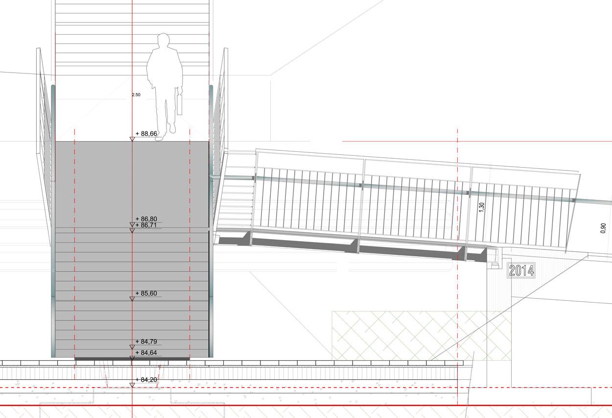 Schnitt Revitalisierung der ehemaligen Schachtanlage Schlägel & Eisen 3/4/7 Fußgängersteg Planquadrat Dortmun