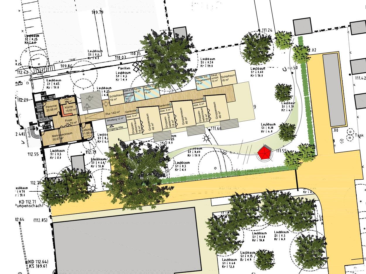 Umbau Max-Ophüls-Platz Grundriss Machbarkeitsstudie, Konzeption und Finanzierung für eine Kita der FH Dortmund Planquadrat