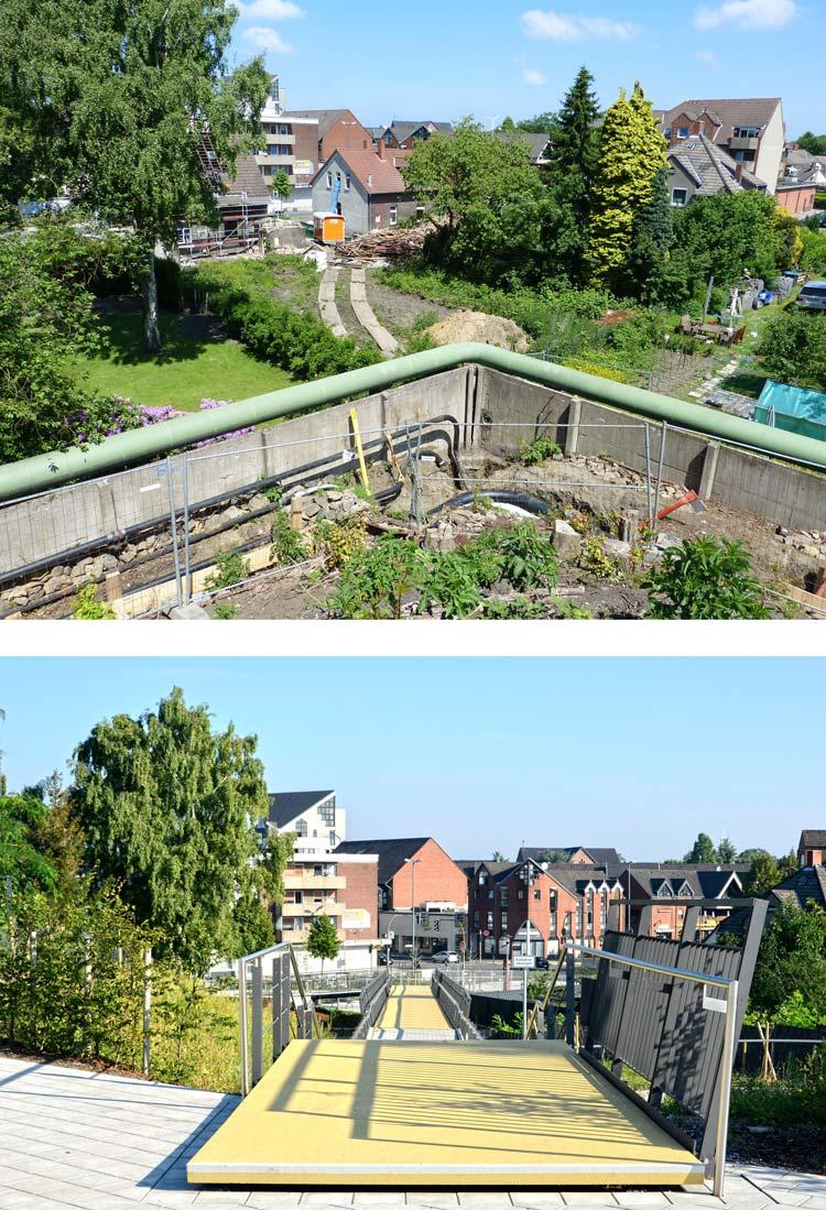 Vorher Nachher Revitalisierung der ehemaligen Schachtanlage Schlägel & Eisen 3/4/7 Fußgängersteg Planquadrat Dortmun