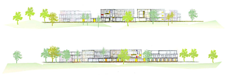 Ansicht Nord Süd Städtebaulicher Entwurf Sozialraumzentrum Römerstraße Moers Planquadrat