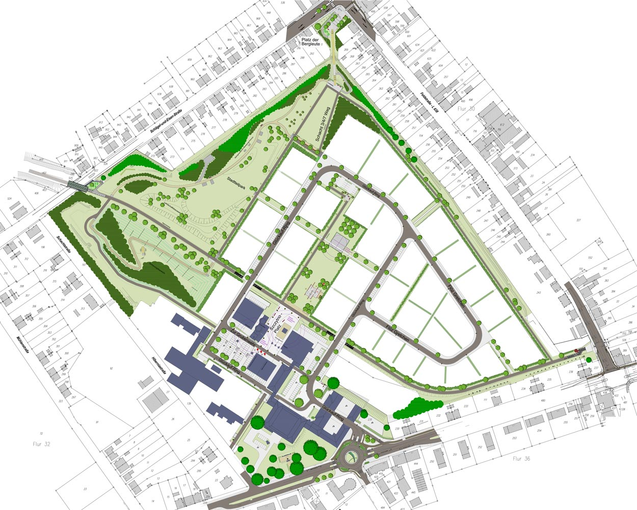 Entwurfsplan Revitalisierung der ehemaligen Schachtanlage Schlägel & Eisen 3/4/7 Herten-Langenbochum Gestaltungshandbuch Planquadrat