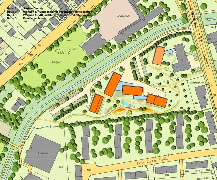 Plan Städtebaulicher Entwurf Sozialraumzentrum Römerstraße Moers Planquadrat