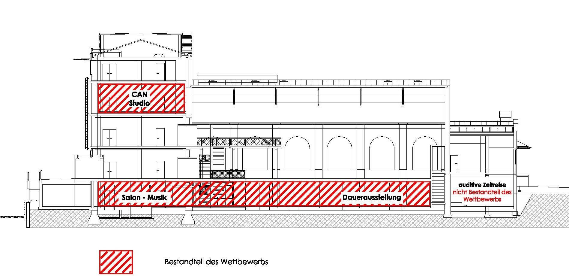 rock'n'popmuseum Gronau Wettbewerbsbetreuung Schnitt Planquadrat