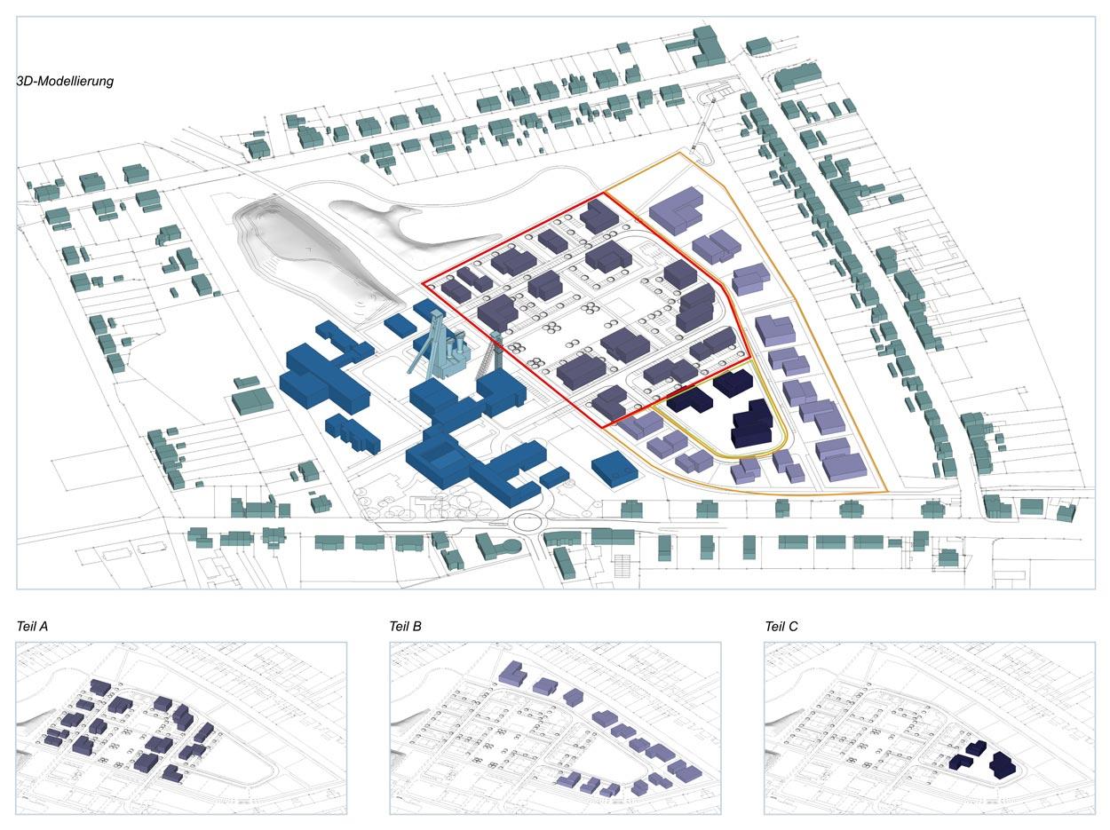 Teilbereiche 3D Revitalisierung der ehemaligen Schachtanlage Schlägel & Eisen 3/4/7 Herten-Langenbochum Gestaltungshandbuch Planquadrat