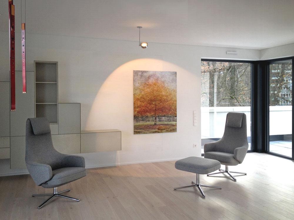 Wohnzimmer 01 Innengestaltung einer Penthouse-Wohnung Olpketalstraße Dortmund Planquadrat