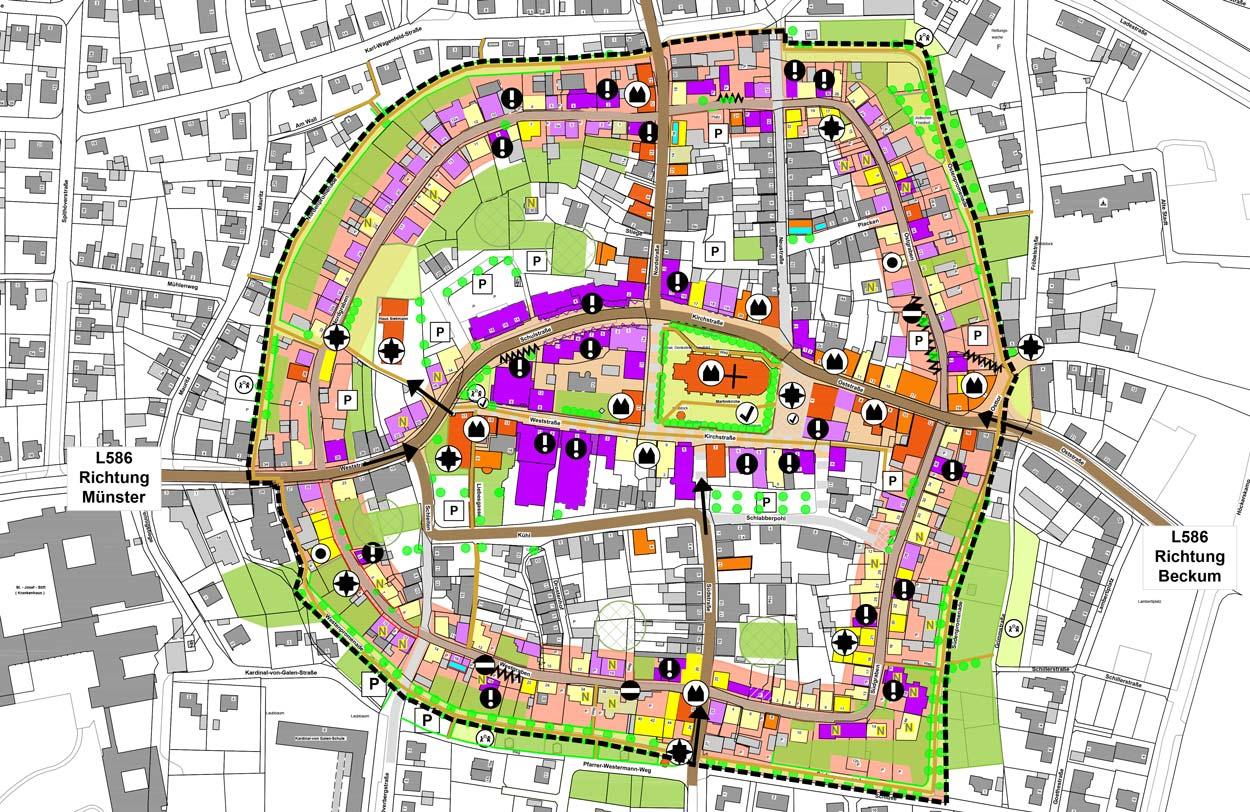 Analysekarte Stadt Sendenhorst – Gestaltungssatzung für den historischen Grabenring und Stadtkern Planquadrat Dortmund