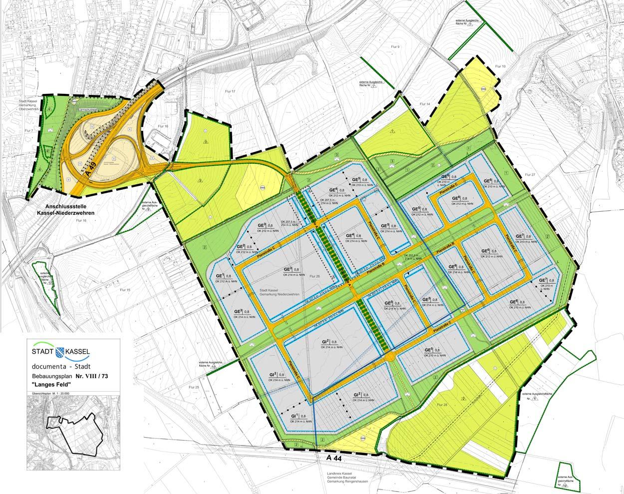 B-Plan Gewerbe- und Industriegebiet Langes Feld Kassel Planquadrat Dortmund