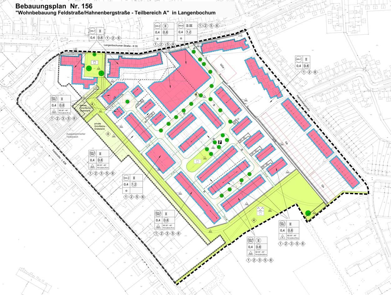 B-Plan Nord Wohnbebauung Feldstraße/Hahnenbergstraße – Herten-Langenbochum Planquadrat Dortmund