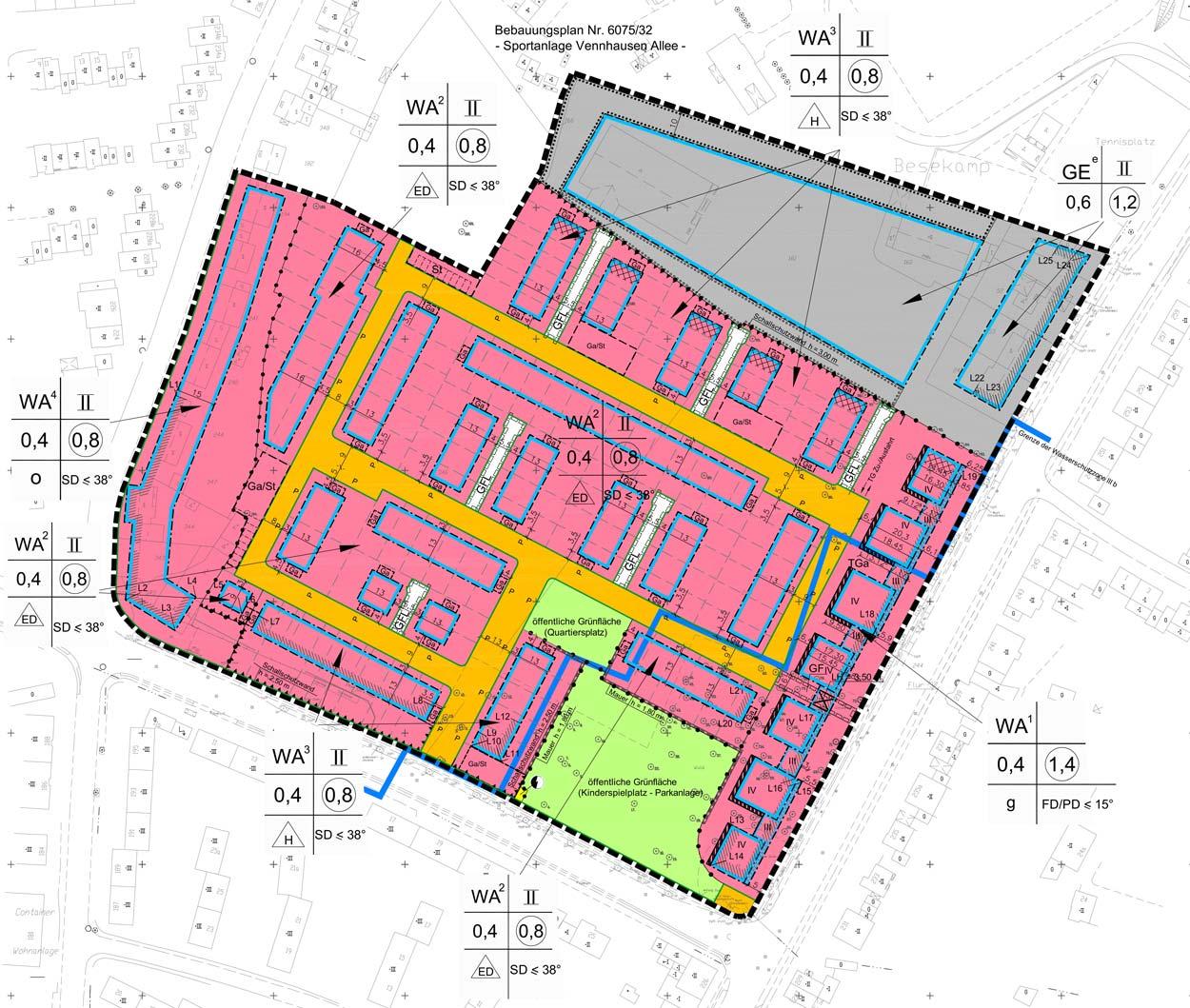 B-Plan Wohngebiet Veenpark Düsseldorf-Vennhausen Planquadrat Dortmund