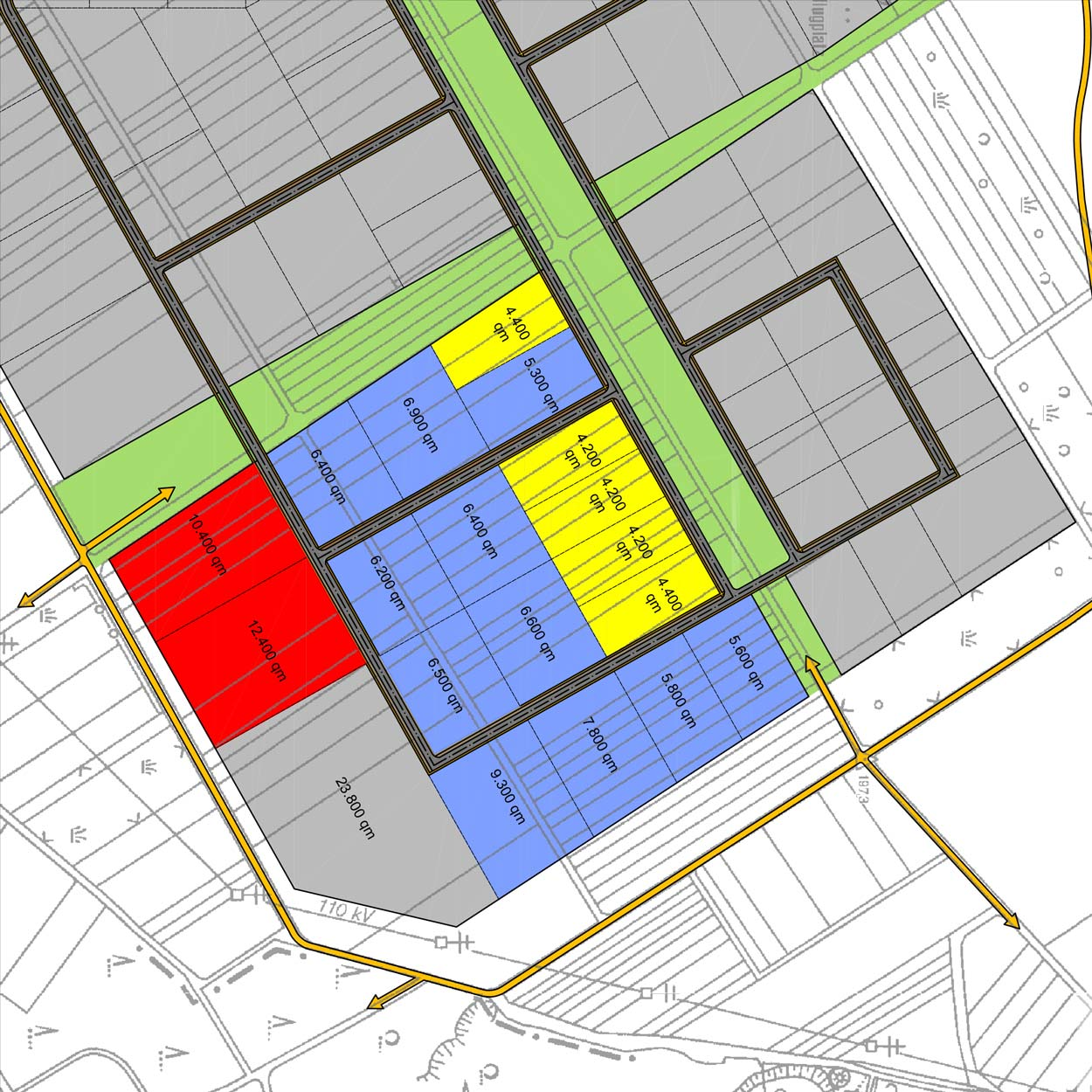 Flächenraster Gewerbe- und Industriegebiet Langes Feld Kassel Planquadrat Dortmund