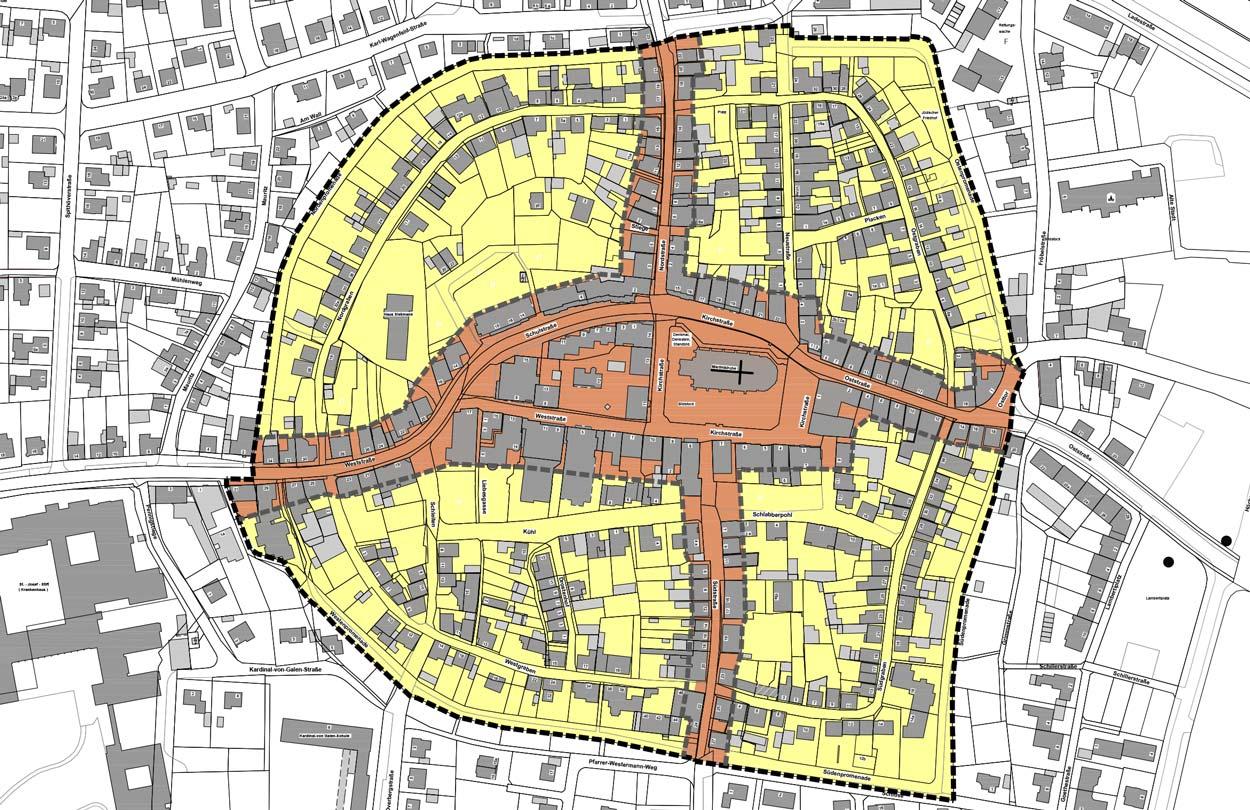 Geltungsbereich Stadt Sendenhorst – Gestaltungssatzung für den historischen Grabenring und Stadtkern Planquadrat Dortmund