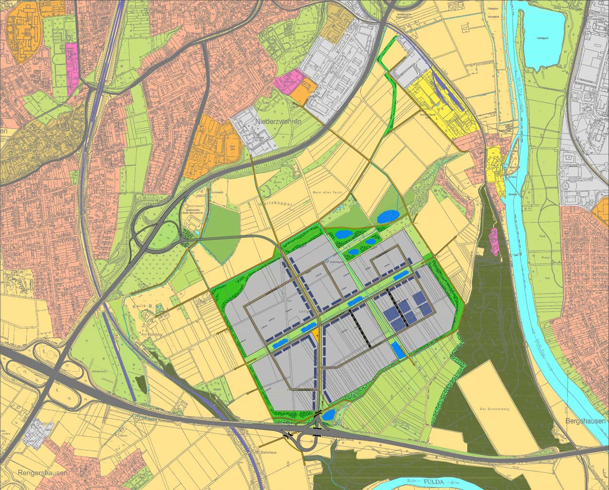 Rahmenplan 02 Gewerbe- und Industriegebiet Langes Feld Kassel Planquadrat Dortmund