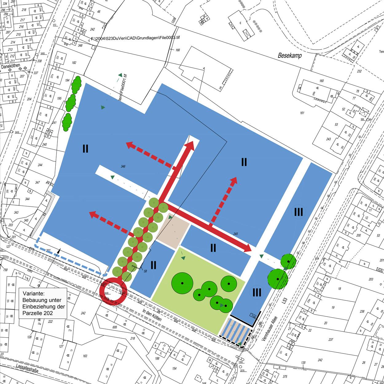Rahmenplan Wohngebiet Veenpark Düsseldorf-Vennhausen Planquadrat Dortmund