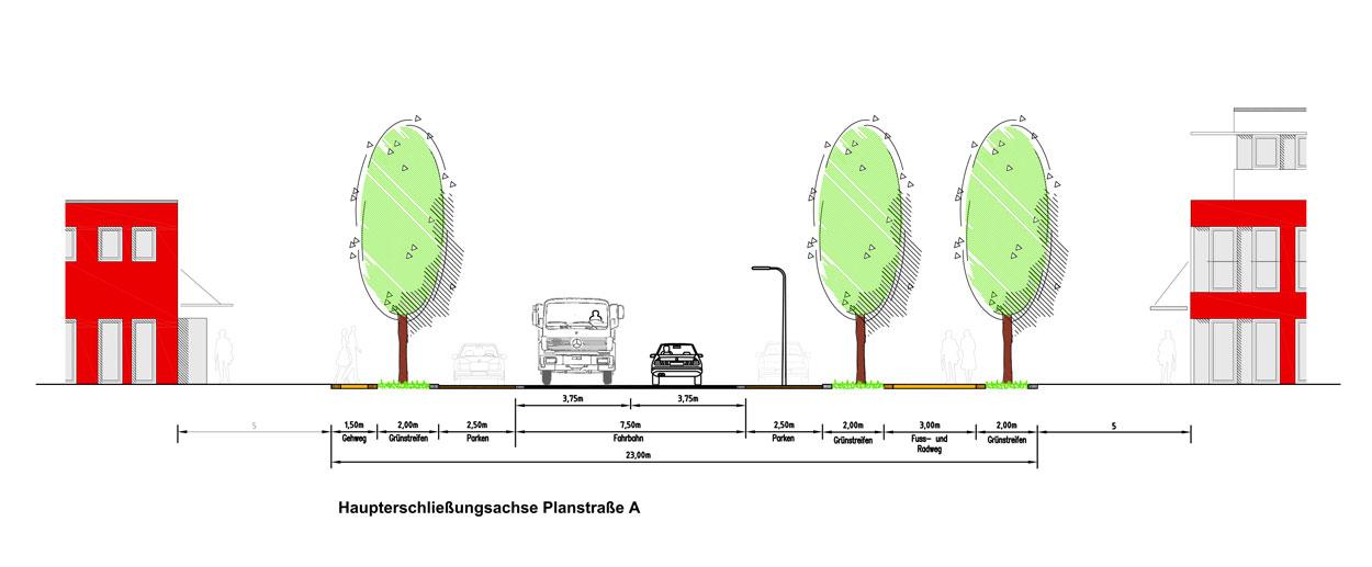 Straßenquerschnitt Gewerbe- und Industriegebiet Langes Feld Kassel Planquadrat Dortmund