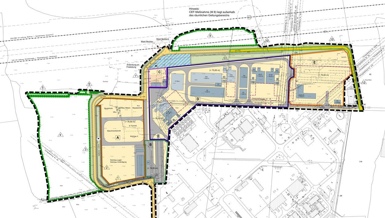 Ausschnitt Flächennutzungsplan und Bebauungsplan Erweiterung der Erdgasverdichterstation Werne Lippe Planquadrat Dortmund