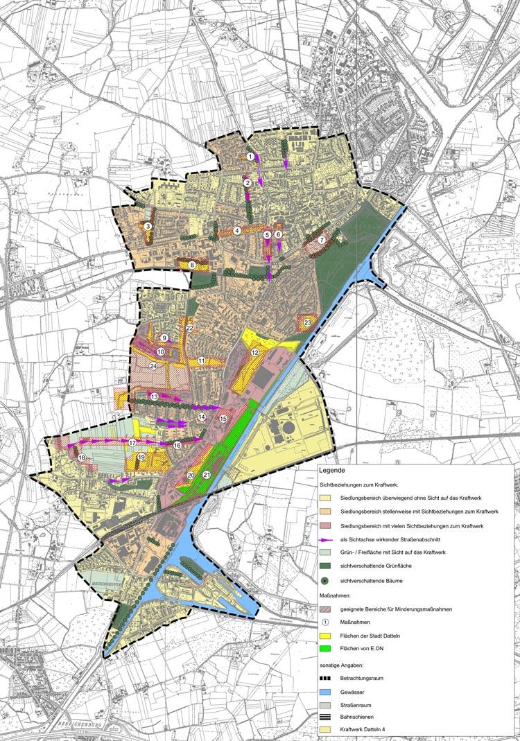 Analysekarte Flächennutzungsplan Bebauungsplan Steinkohlekraftwerk Datteln 4 Planquadrat Dortmund
