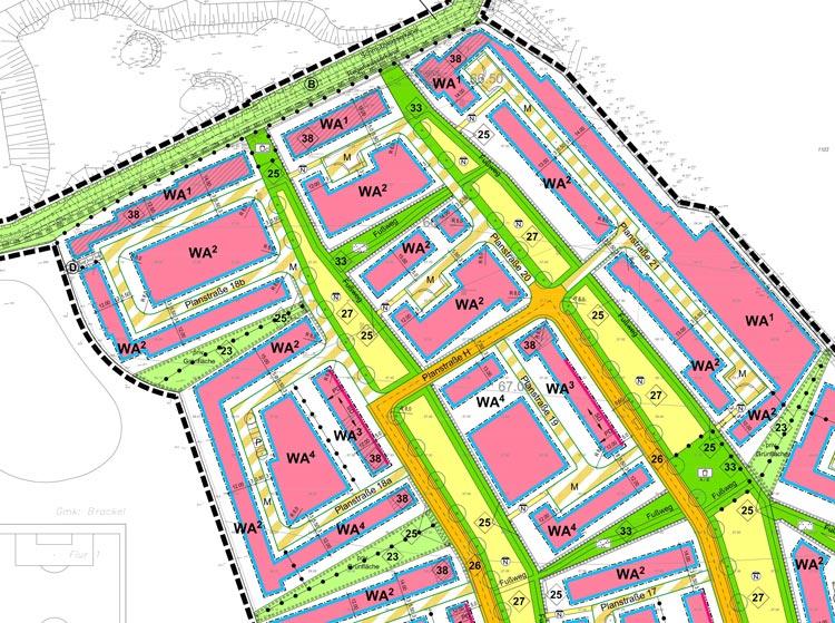 Blatt 1 Ausschnitt Bebauungsplan Wohngebiet Hohenbuschei Planquadrat Dortmund
