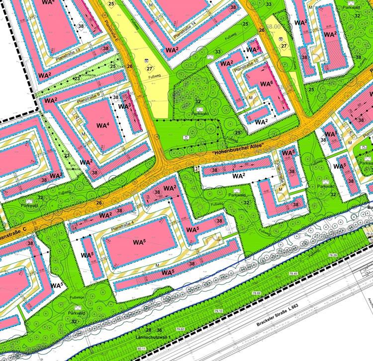 Blatt 2 Ausschnitt Bebauungsplan Wohngebiet Hohenbuschei Planquadrat Dortmund