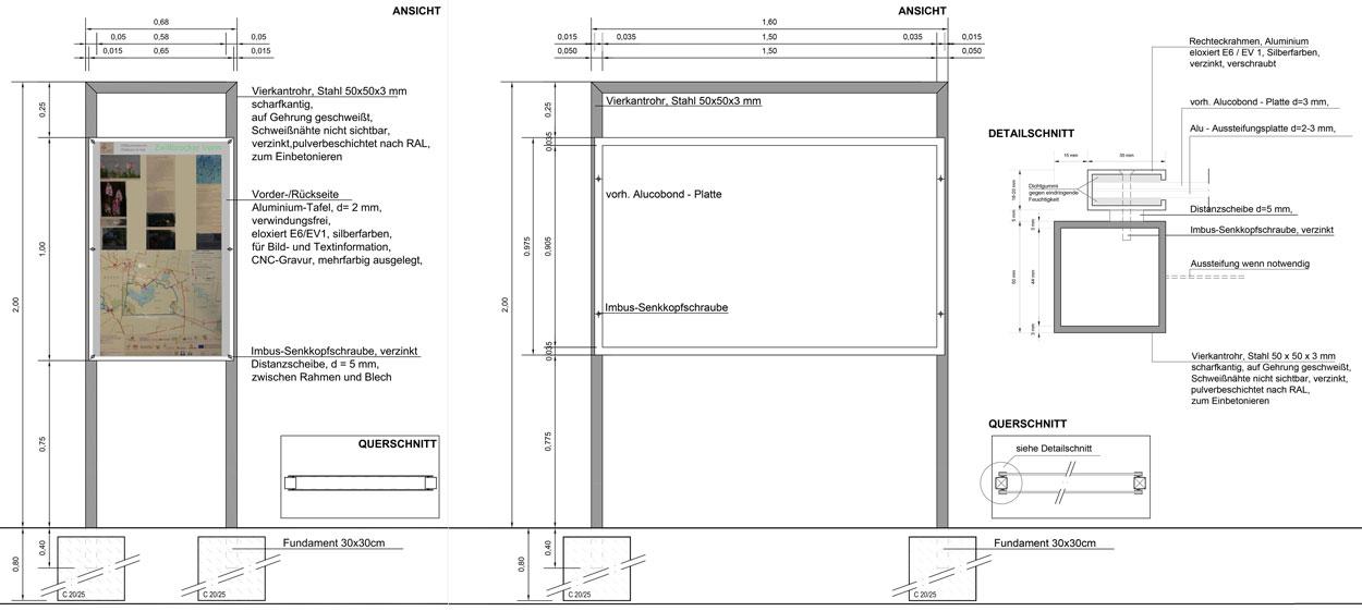 Infostele Ausführungskonzept Bauleitung Dorferneuerung Zwillbrock Stadt Vreden Planquadrat Dortmund