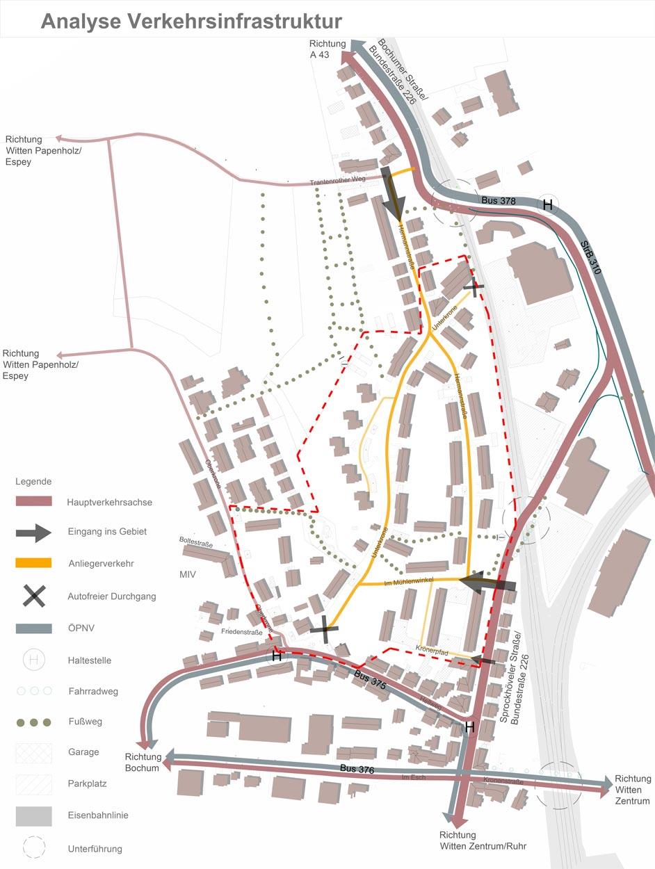 Analyse Verkehr Quartiersentwicklungsplan Unterkrone, Im Mühlenwinkel, Hermannstraße, Witten - Planquadrat Dortmund