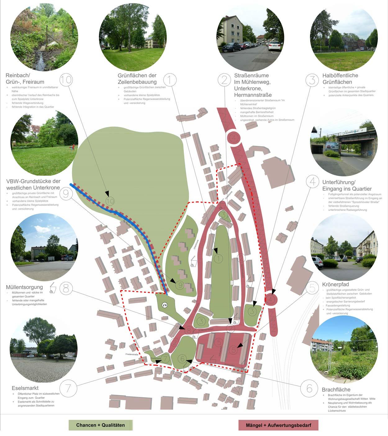 Bestandsanalyse Quartiersentwicklungsplan Unterkrone, Im Mühlenwinkel, Hermannstraße, Witten - Planquadrat Dortmund