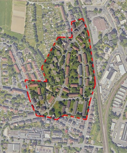 Luftbild Plangebiet Quartiersentwicklungsplan Unterkrone, Im Mühlenwinkel, Hermannstraße, Witten - Planquadrat Dortmund
