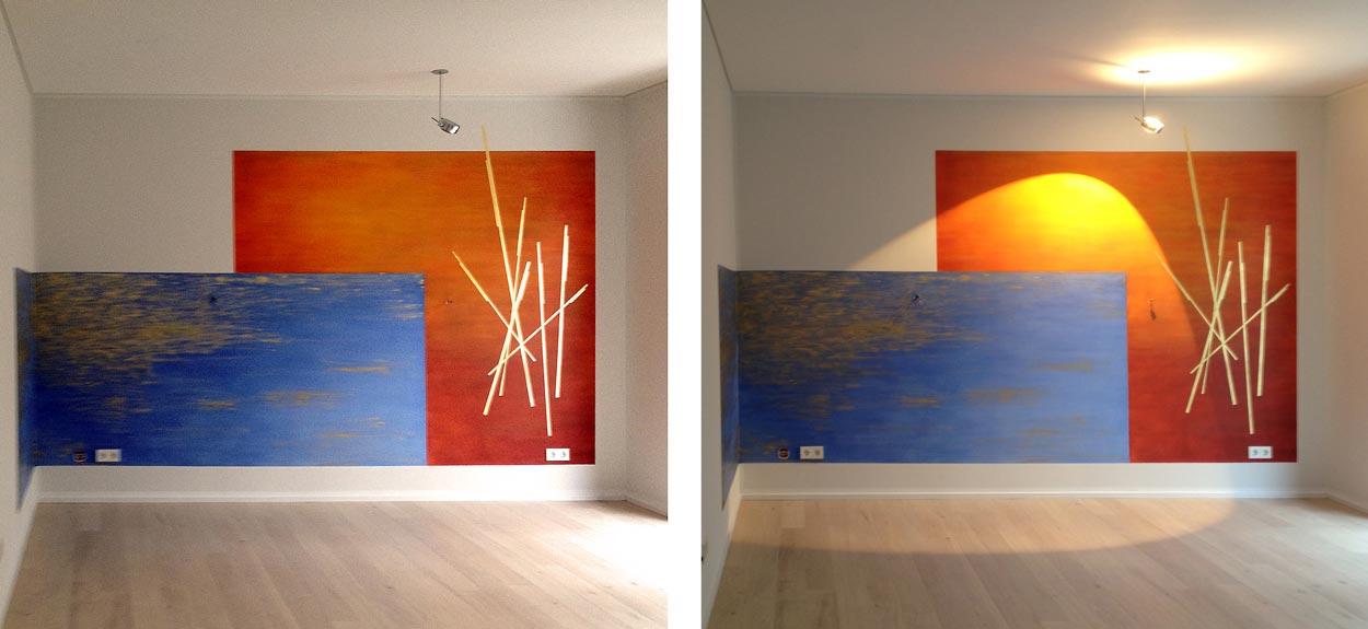 Abbildung 522-525k Wand- und Farbgestaltung einer Penthouse-Wohnung - Planquadrat Dortmund