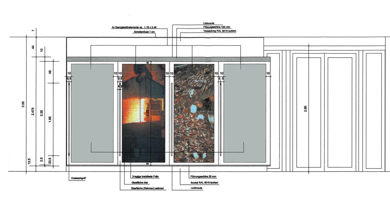 Ansicht Entwurf eines Garderobenschranks - Planquadrat Dortmund