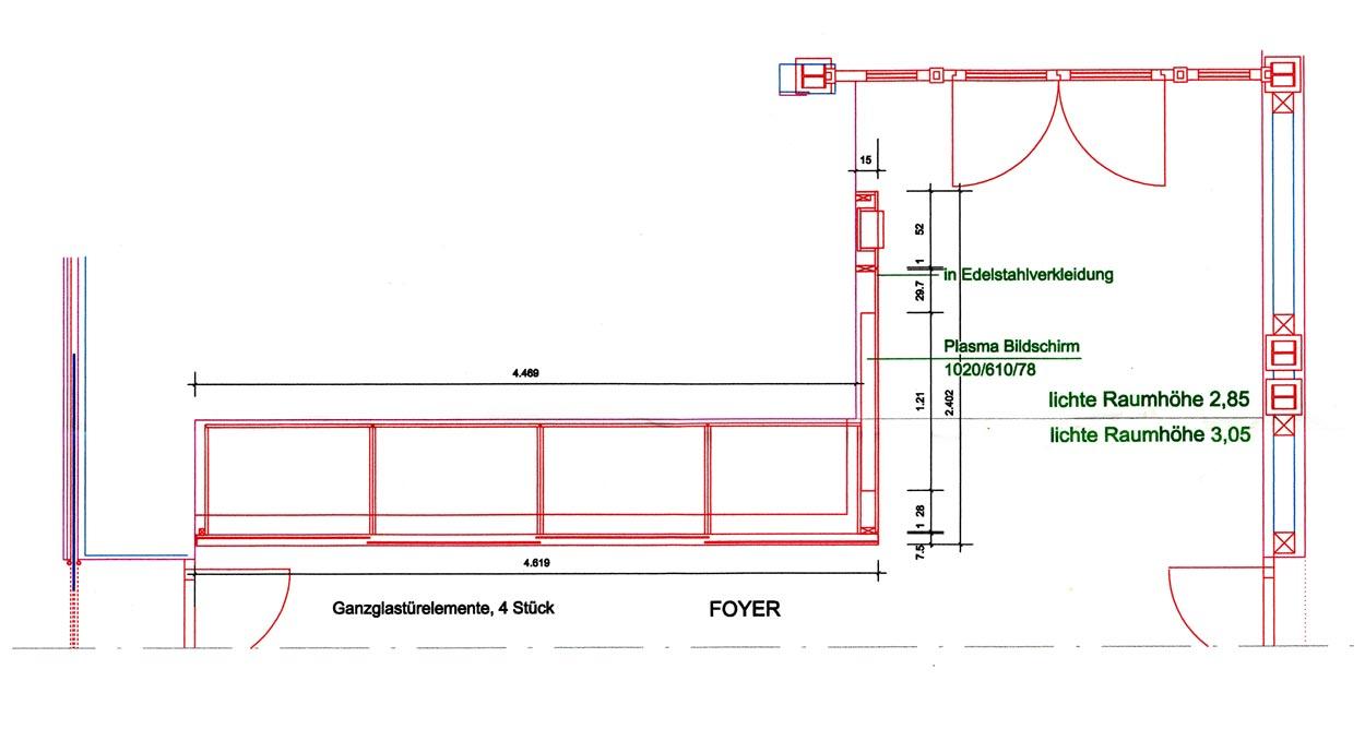 Grundriss Entwurf eines Garderobenschranks - Planquadrat Dortmund