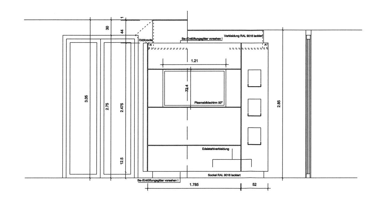 Seitenansicht Entwurf eines Garderobenschranks - Planquadrat Dortmund