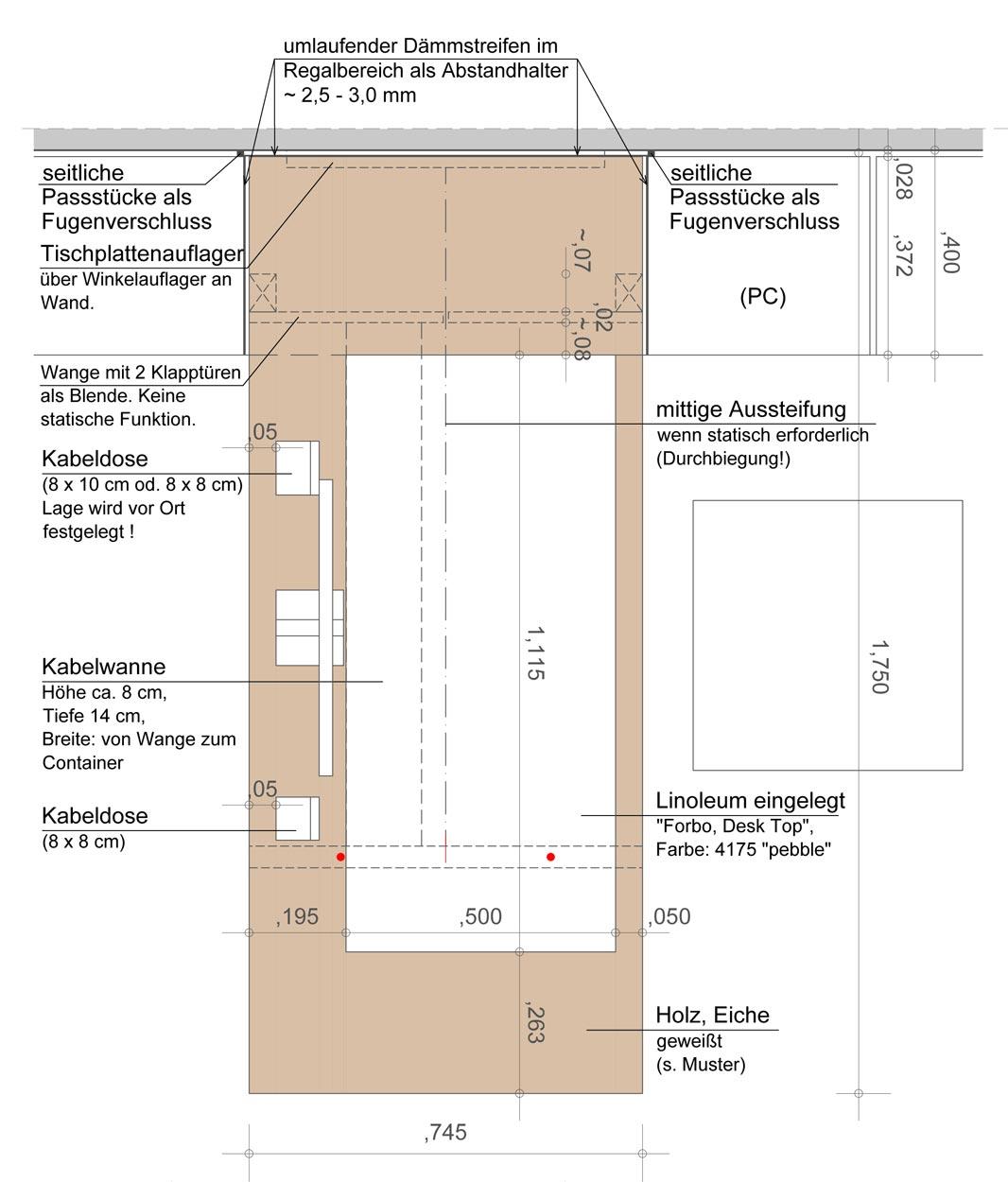 Aufsicht Schreibtisch für eine Regalwand - Planquadrat Dortmund