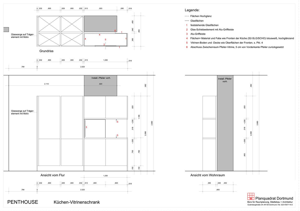 Grundriss Seitenriss Entwurf eines Glas-Vitrinenschranks - Planquadrat Dortmund