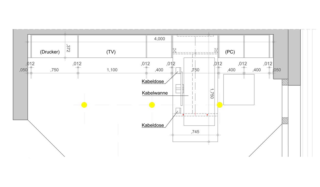 Grundriss Schreibtisch für eine Regalwand - Planquadrat Dortmund