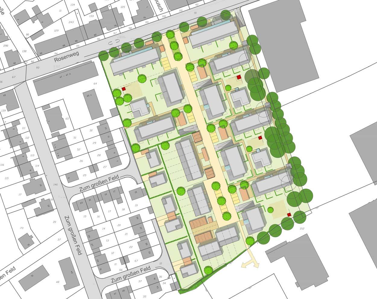 Lageplan Städtebaulicher Ideenwettbewerb Bebauung am Rosenweg – Stadt Schwerte – Planquadrat Dortmund