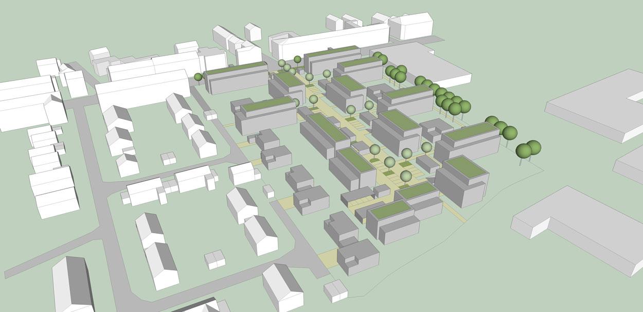 Perspektive Städtebaulicher Ideenwettbewerb Bebauung am Rosenweg – Stadt Schwerte – Planquadrat Dortmund