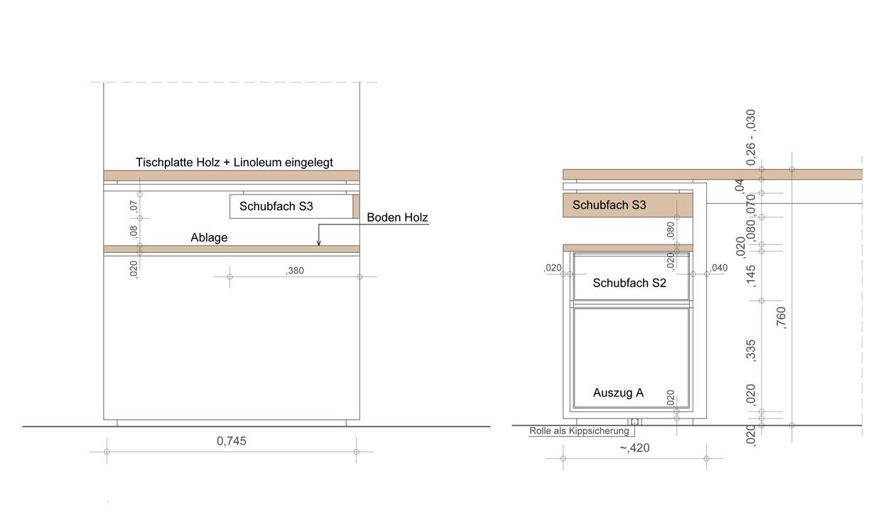 Seitenansicht Schreibtisch für eine Regalwand - Planquadrat Dortmund