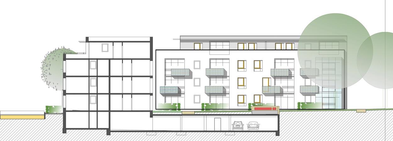 Südansicht Schnitt A-A Städtebaulicher Ideenwettbewerb Bebauung am Rosenweg – Stadt Schwerte – Planquadrat Dortmund