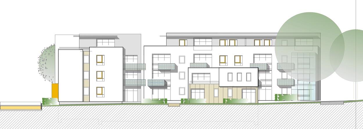 Südansicht Städtebaulicher Ideenwettbewerb Bebauung am Rosenweg – Stadt Schwerte – Planquadrat Dortmund