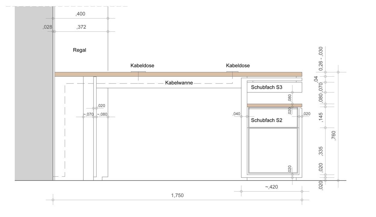 Vorderansicht Schreibtisch für eine Regalwand - Planquadrat Dortmund