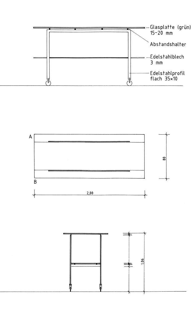 Vorlagetisch Entwurf von Präsentationsmöbeln - Planquadrat Dortmund