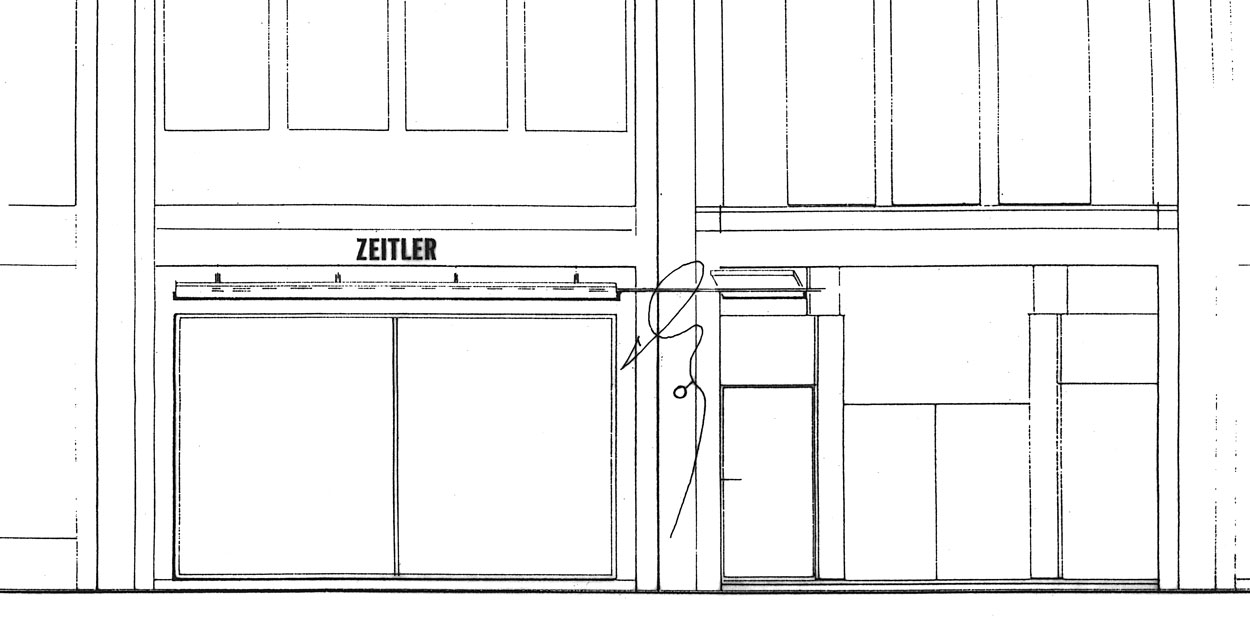 Zeitler Ansicht Entwurf von Präsentationsmöbeln - Planquadrat Dortmund