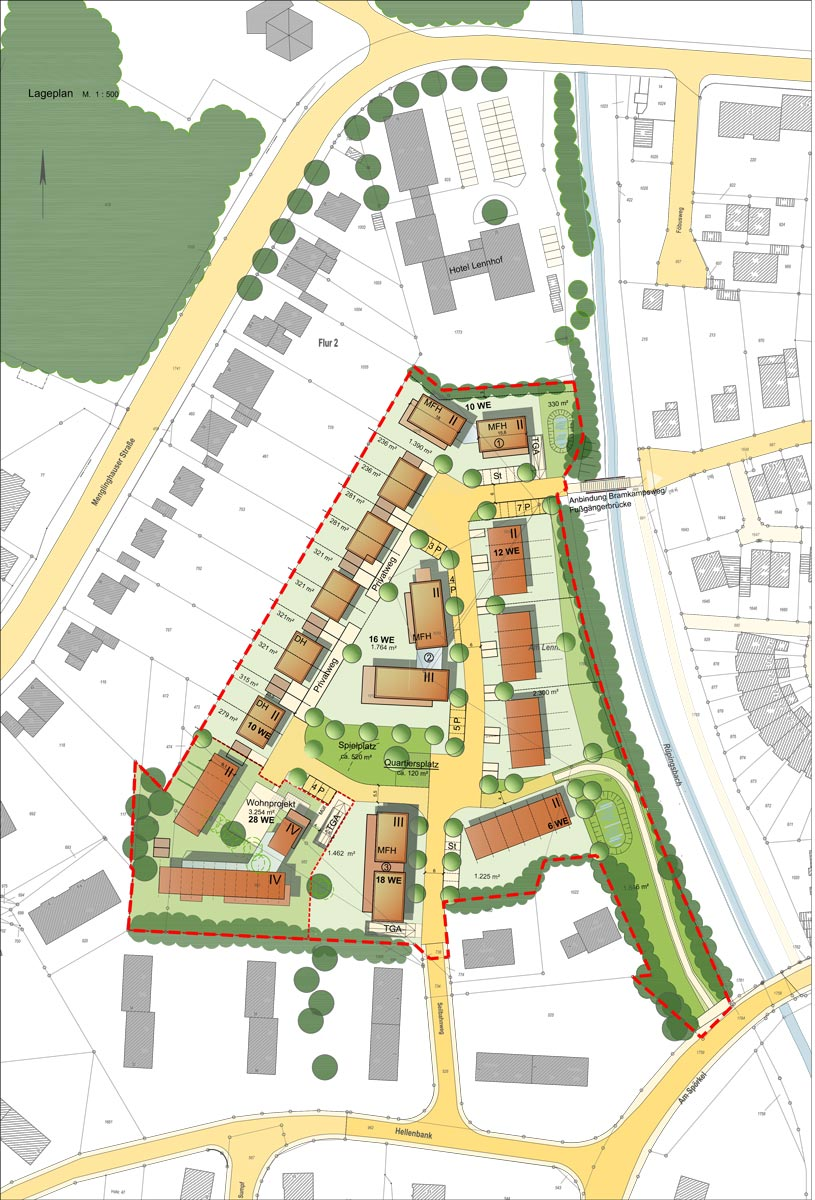 Konzept Wohngebiet am Lennhofe Dortmund-Menglinghausen, Planquadrat Dortmund